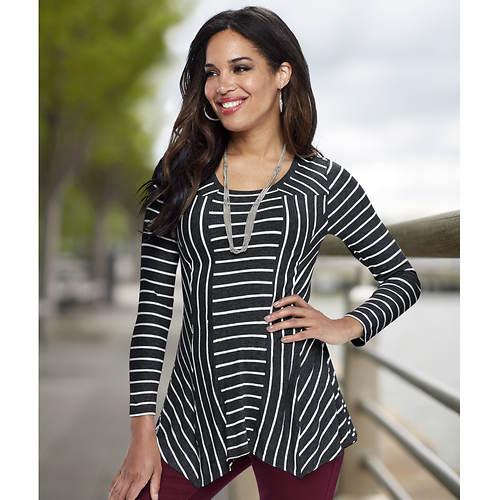 Women's Striped Hanky Hem Top