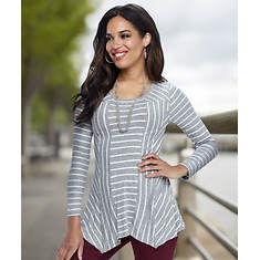 Women's Striped Hanky Hem Top