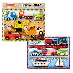Melissa & Doug Chunky Bundle - Vehicles and Construction