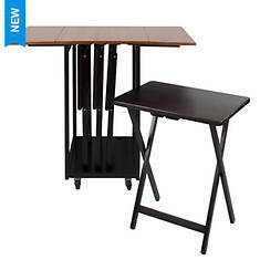 Casual Home Drop-Leaf Table with TV Trays