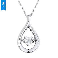 Sterling Silver Dancing Diamond-Accent Illusion Heart Tear Pendant