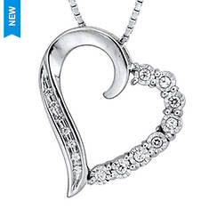 10KWG 1/10 ct. tw. Diamond Heart Pendant