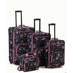 Rockland 4-Piece Peace Luggage Set