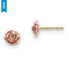 Women's 10K Black Hills Gold Rose Post Earrings
