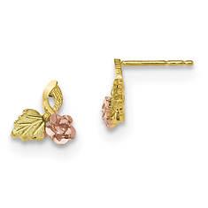 Women's 10K Black Hills Gold Leaf and Rose Post Earrings