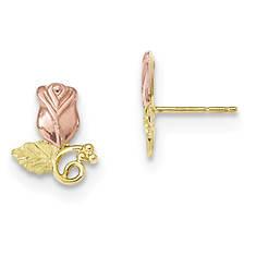 Women's 10K Black Hills Gold Rose Scroll Post Earrings