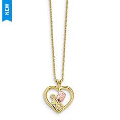 Women's 10K Black Hills Gold Rose In Heart Necklace