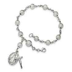 Women's Sterling Silver Polished Laser-Cut Rosary Bracelet