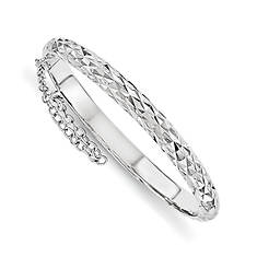 Girls' Sterling Silver Rhodium-Plated Diamond-Cut Bangle with Safety Hinge