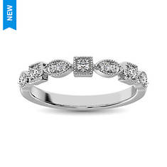 GemStar Square Oval Stackable 1/10 Ct Diamond Band