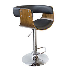 AmeriHome Bent Wood Faux Leather Bar Stool