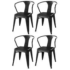 AmeriHome 4-Piece Loft Matte Metal Dining Chair