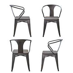 AmeriHome 4-Piece Loft Rustic Metal Dining Chair