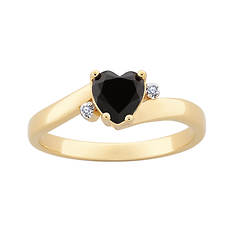 Women's Black Onyx and CZ Heart Ring