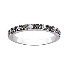 Sterling Silver Black and White CZ Band