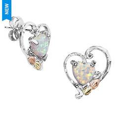 Landstroms Black Hills Gold Opal Heart Earrings