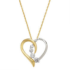 Two-Tone CZ Heart Embrace Necklace