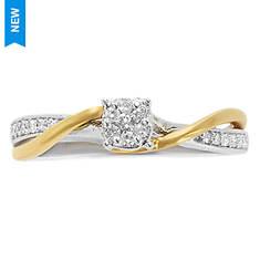 Women's Two-Tone Diamond Twist Ring