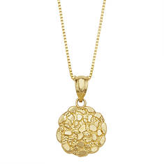 10K Gold Round Nugget Necklace