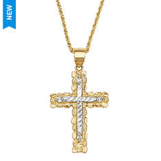 10K Gold Cross Nugget Necklace