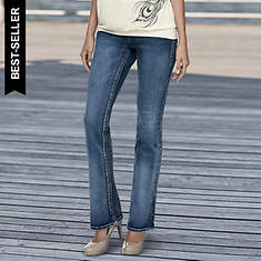 Women's Contrast-Stitched Bootcut Jeans