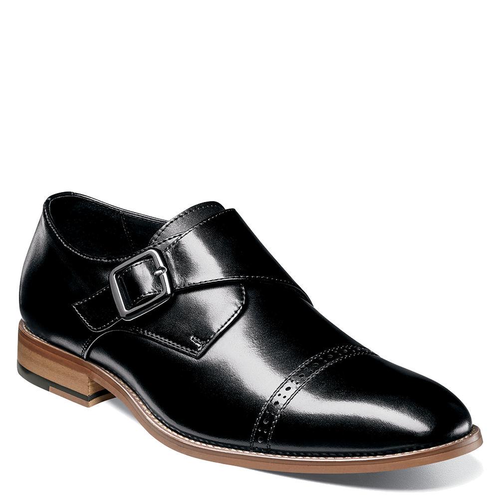 Men's 1950s Shoes Styles- Classics to Saddles to Rockabilly Stacy Adams Desmond Mens Black Slip On 7.5 M $109.95 AT vintagedancer.com