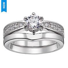 Sterling Silver CZ/Diamond Highlight Bridal Set