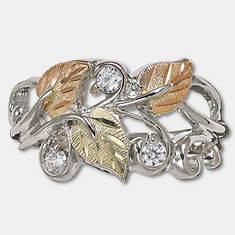 Black Hills Gold Sterling Silver 12K Cubic Zirconia Ring