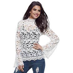 High-Neck Crochet Top