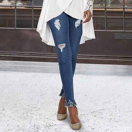 Frayed-Hem Skinny Jeans