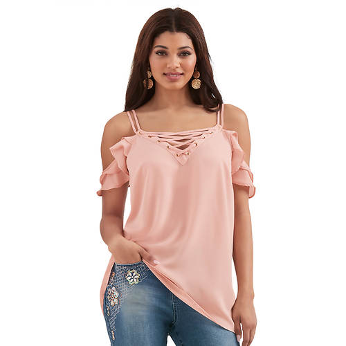 Lace-Up Cold-Shoulder Top