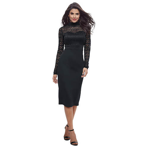 High-Neck Lace-Bodice Dress