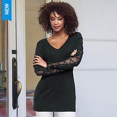 Mesh Laced-Sleeve Tunic