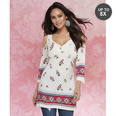 Boho Border-Print Cold Shoulder Tunic