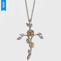 Black Hills Gold Sterling Silver 12K Cross Necklace
