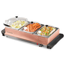 Nostalgia 3 Station Steel Buffet Server & Warming Tray