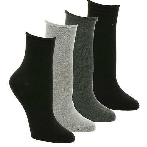 Steve Madden Women's SM39298A 4-Pack Roll Top Crew Socks