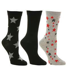 Steve Madden Women's SM38158B 3PK Star & Solid Crew Socks