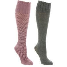Steve Madden Women's SM37546B 2PK Scallop Knee High Socks