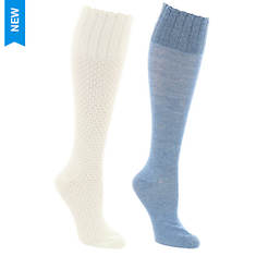 Steve Madden Women's SM37546A 2PK Scallop Knee High Socks