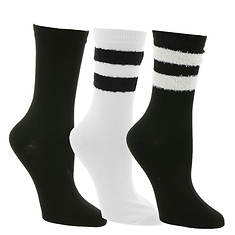 Steve Madden Women's SM38280A 3PK Stripe Crew Socks