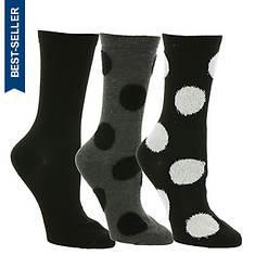 Steve Madden Women's SM38156A 3-Pack Polka Dot Crew Socks