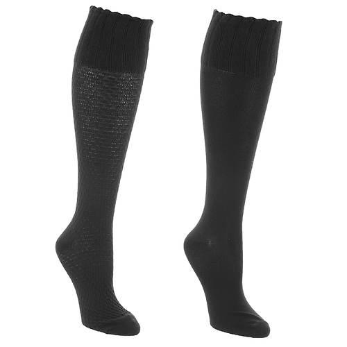 Steve Madden Women's SM37546C 2PK Scallop Knee High Socks