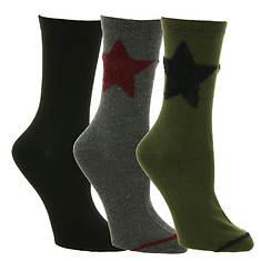 Steve Madden Women's SM38281B 3-Pack Star Crew Socks