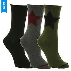 Steve Madden Women's SM38281B 3PK Star Crew Socks