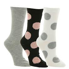 Steve Madden Women's SM38156B 3-Pack Polka Dot Crew Socks