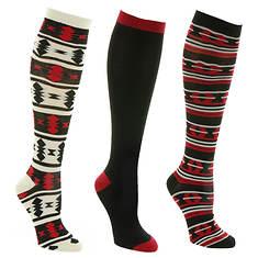 Steve Madden Women's SM34470 3PK Aztec Knee High Socks