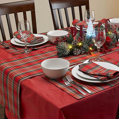 9-Pc. Christmas Plaid Table Setting