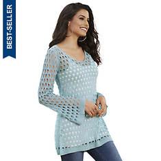 Open-Stitch Bell-Sleeve Tunic