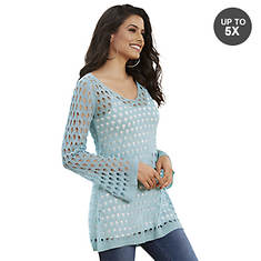 Open-Stitch Bell-Sleeve Tunic